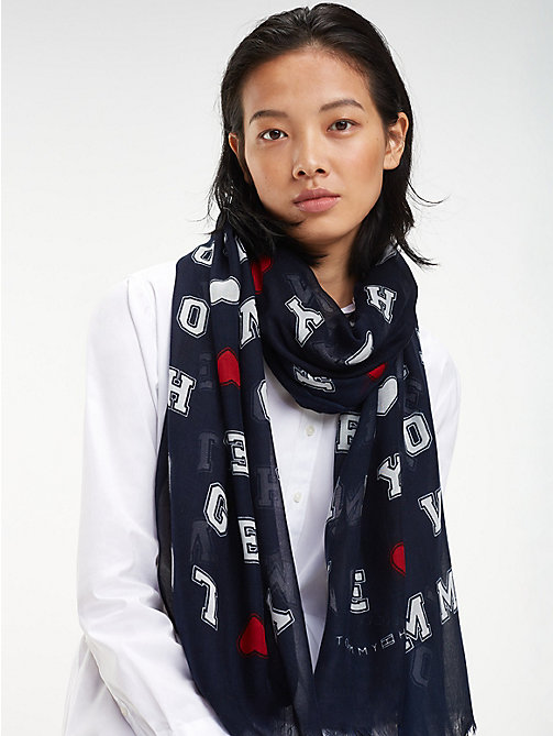 TOMMY HILFIGER Sjaal met hartprint - TOMMY NAVY - TOMMY HILFIGER Sjaals - main image