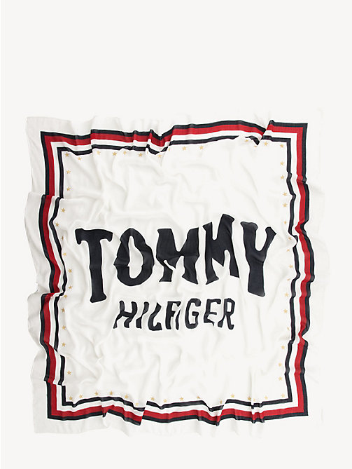 TOMMY HILFIGER Sjaal met signature-tape en logo - BRIGHT WHITE - TOMMY HILFIGER NIEUW - detail image 1