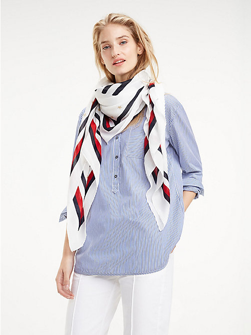 TOMMY HILFIGER Sjaal met signature-tape en logo - BRIGHT WHITE - TOMMY HILFIGER NIEUW - main image