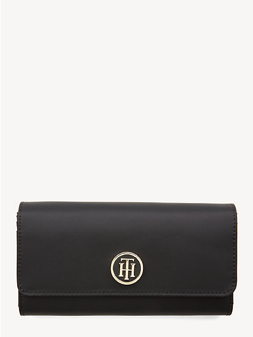 TOMMY HILFIGER Monogram Flap Wallet - BLACK - TOMMY HILFIGER Wallets - main image