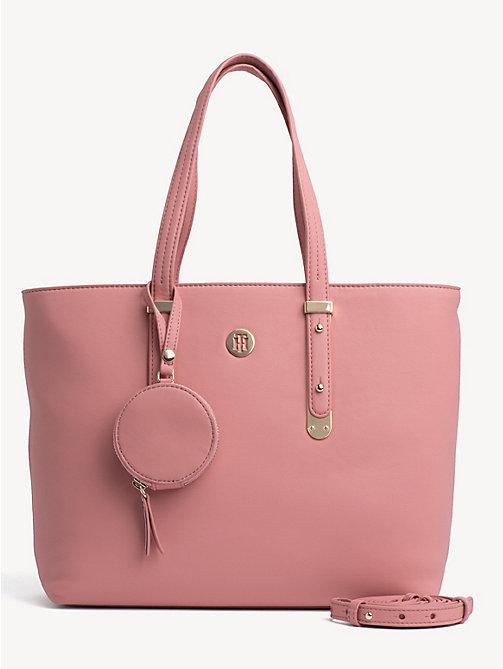 87f226d2e5 pink mittelgroße tote-bag mit metall-highlights für damen - tommy hilfiger
