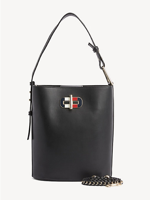 437df52e6 black turn lock leather bucket bag for women tommy hilfiger
