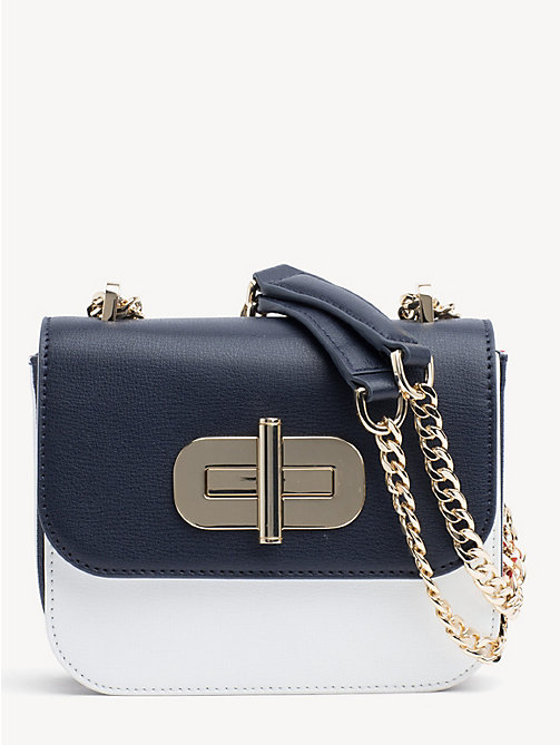 bd9a6642af0 blue turn lock small crossover bag for women tommy hilfiger. NEW