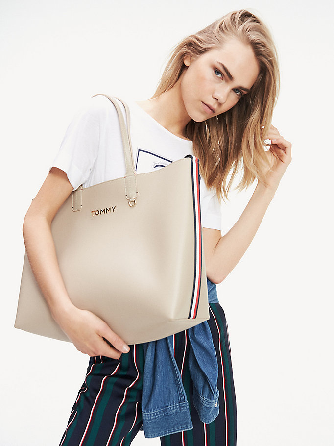 bolso tote tommy icon beige de mujer tommy hilfiger