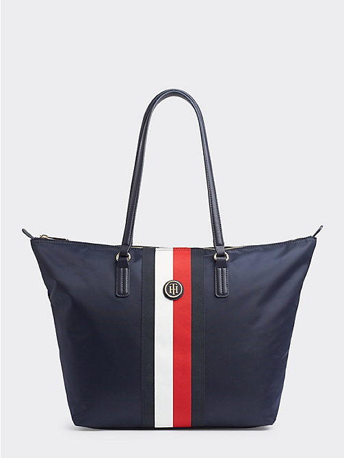 8a5d3545 blue signature tape tote bag for women tommy hilfiger