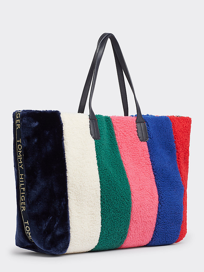 good service finest selection best choice Tommy Icon Faux Fur Tote Bag