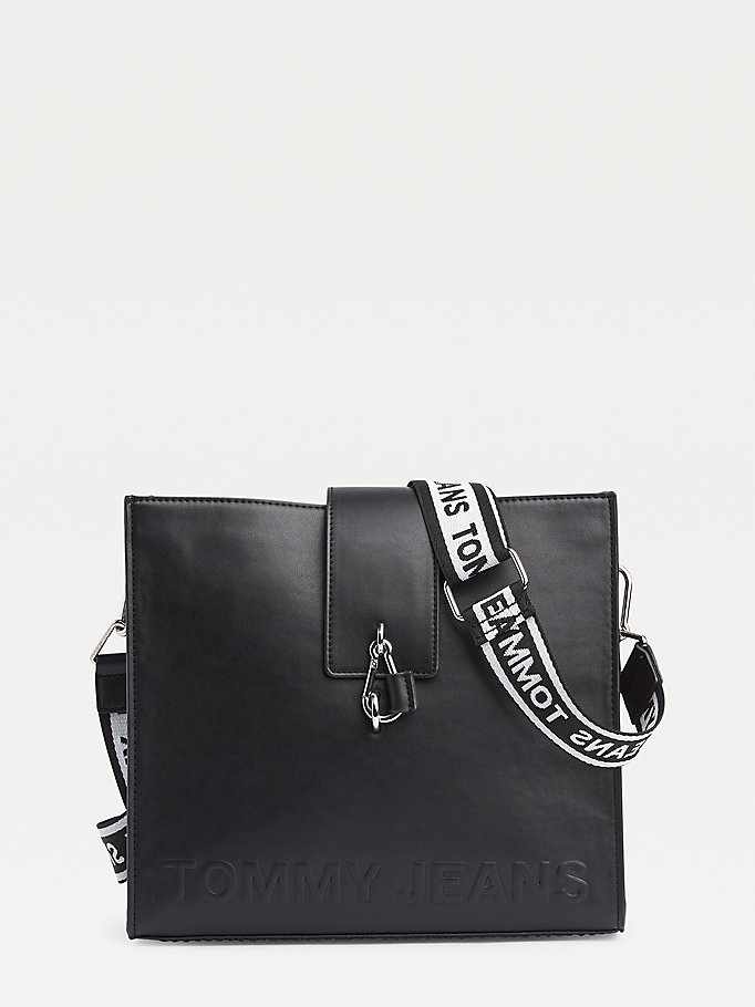 black tommy jeans bold small tote for women tommy jeans