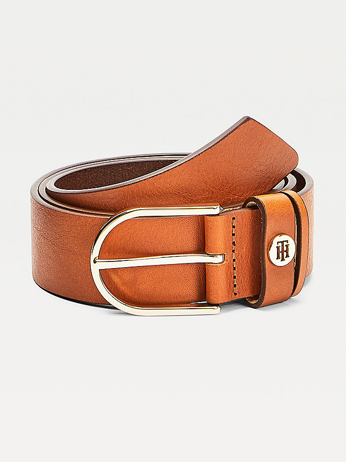 brown classic leather belt for women tommy hilfiger