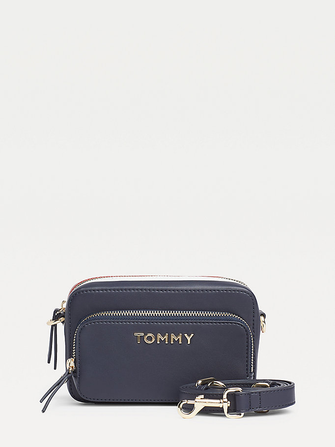 blue signature tape camera bag for women tommy hilfiger