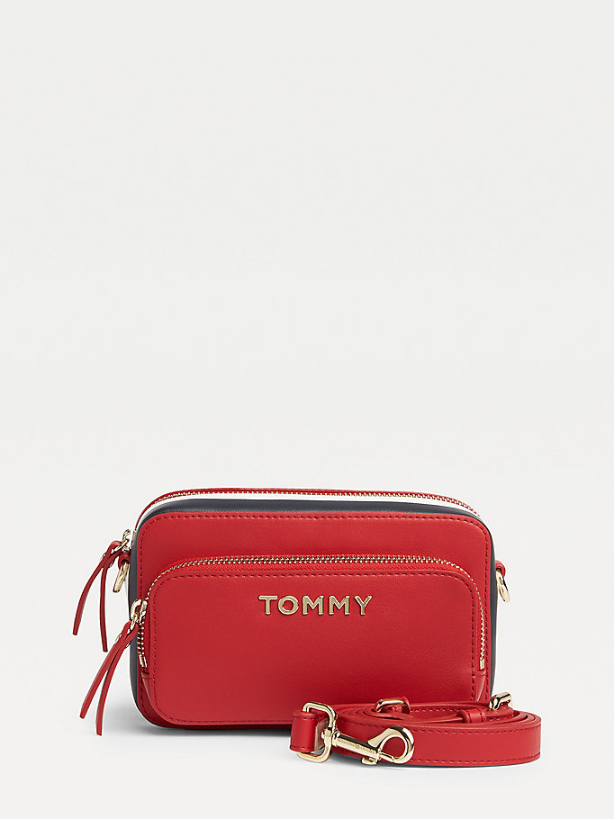 rood cameratas met signature-tape voor dames - tommy hilfiger
