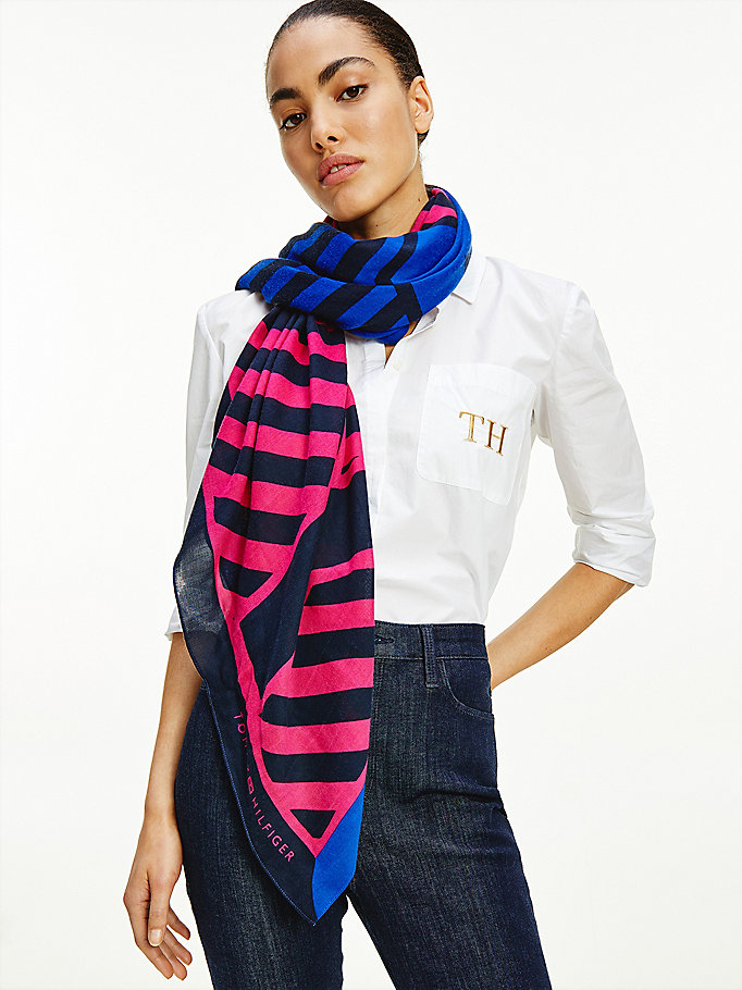 blue tommy stripe print square for women tommy hilfiger