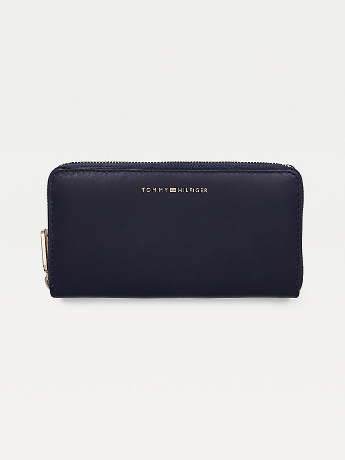 blue zipped leather wallet for women tommy hilfiger