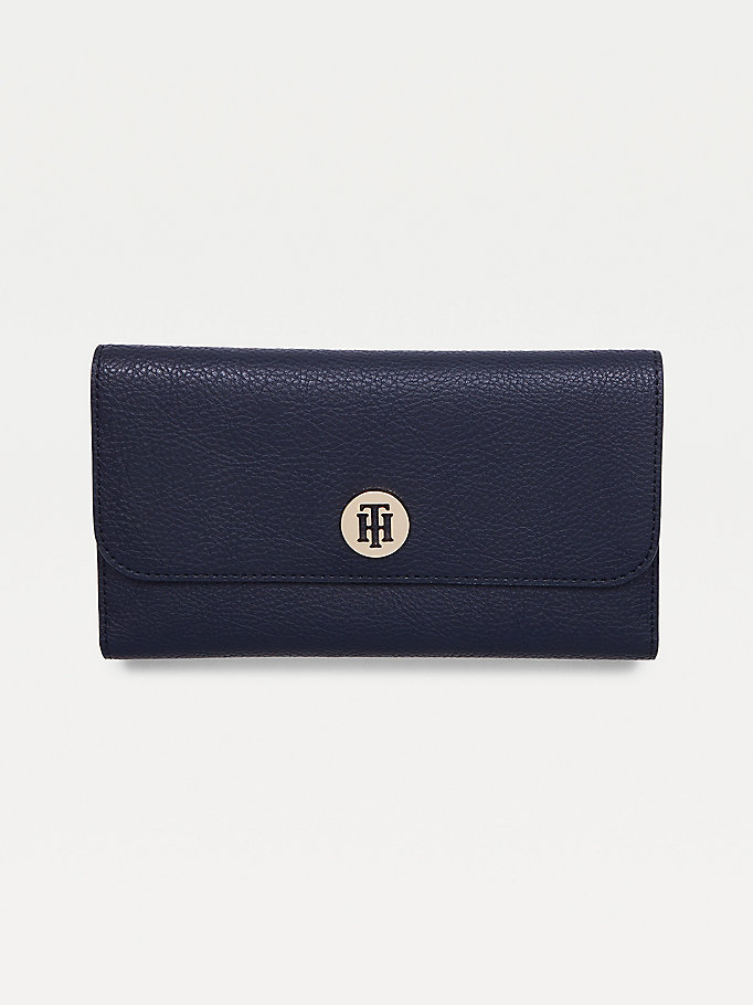 blue th core large plaque wallet for women tommy hilfiger