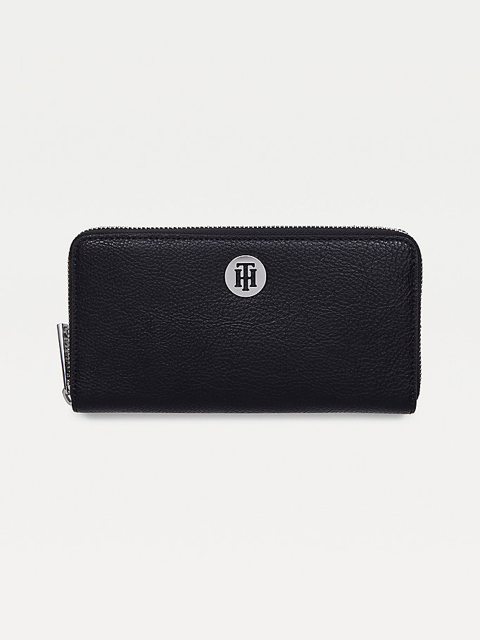 black th core large zip wallet for women tommy hilfiger
