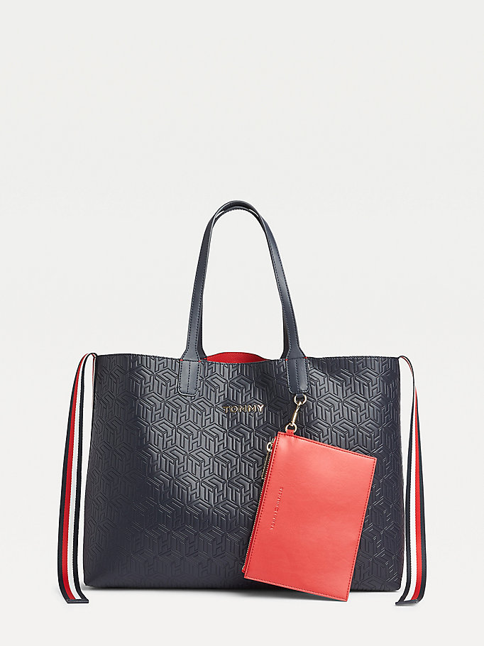 borsa tote tommy icon con finitura in rilievo blu da women tommy hilfiger