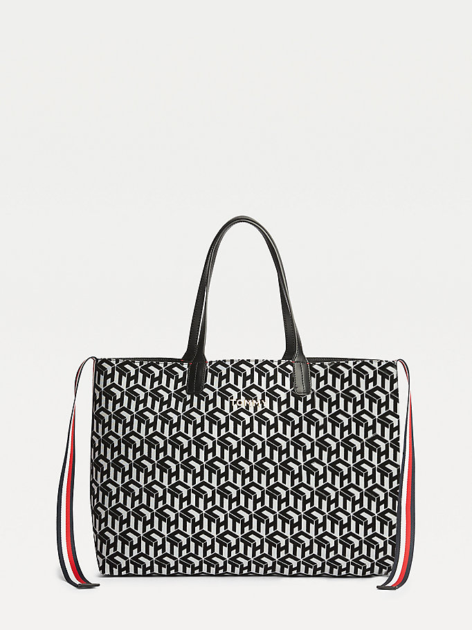 black tommy icon tote for women tommy hilfiger