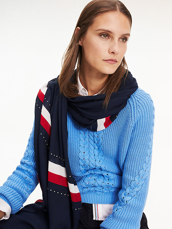 blue printed frayed hem scarf for women tommy hilfiger