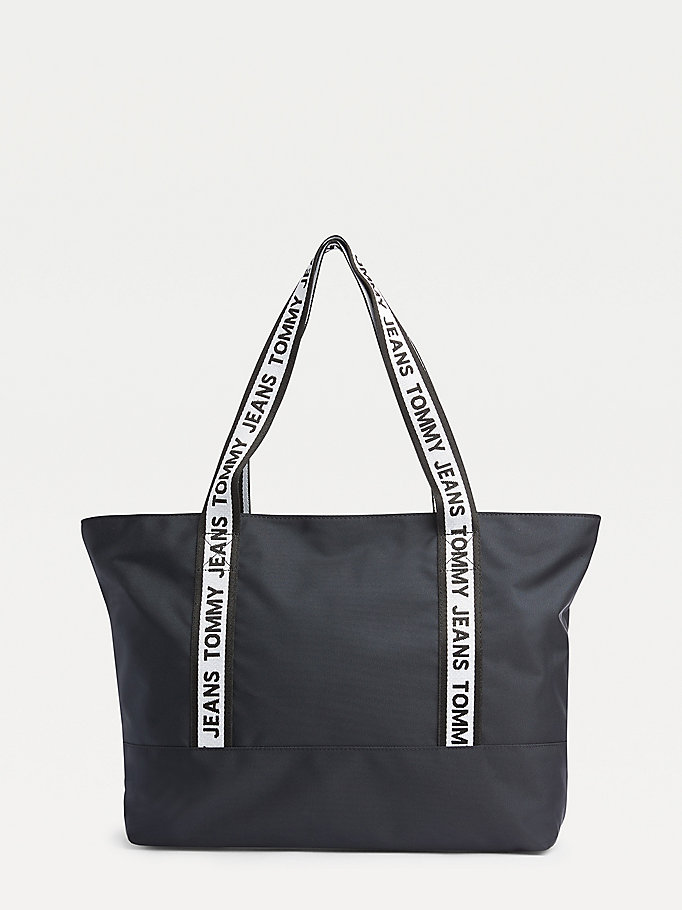 black tommy jeans logo tape tote bag for women tommy jeans