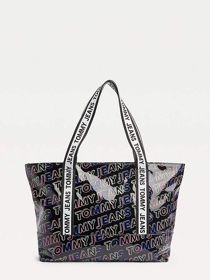 black tommy jeans logo tape outline print tote for women tommy jeans