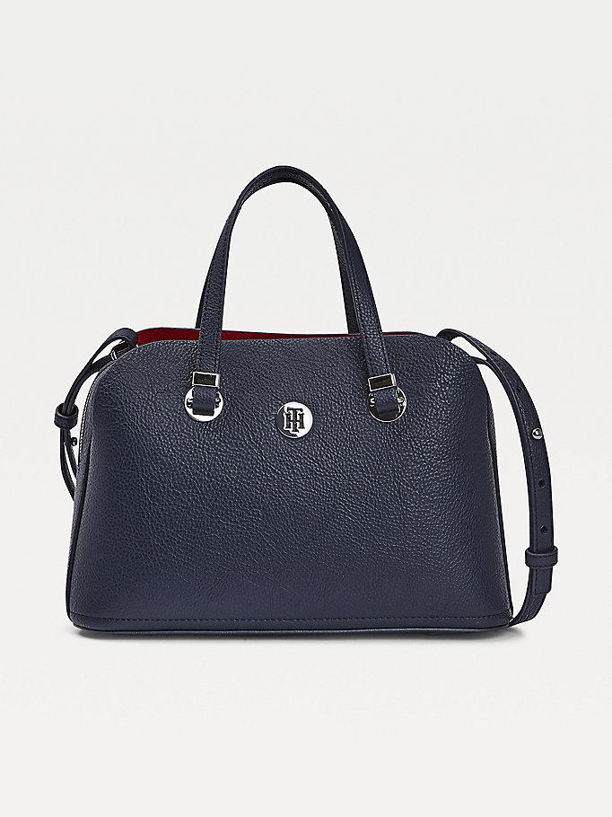 blue th core medium satchel for women tommy hilfiger