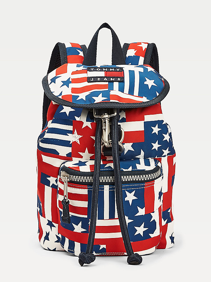 blue heritage stars and stripes backpack for women tommy jeans