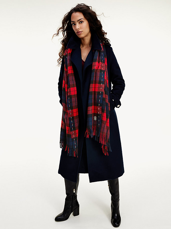 blue plaid check pure wool scarf for women tommy hilfiger