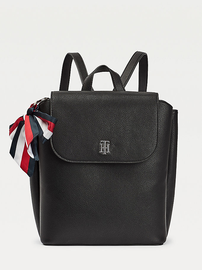 black signature ribbon backpack for women tommy hilfiger