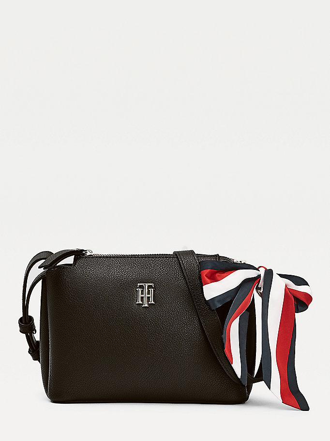 black signature ribbon crossover bag for women tommy hilfiger