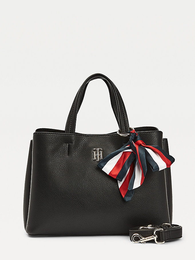black medium ribbon satchel for women tommy hilfiger