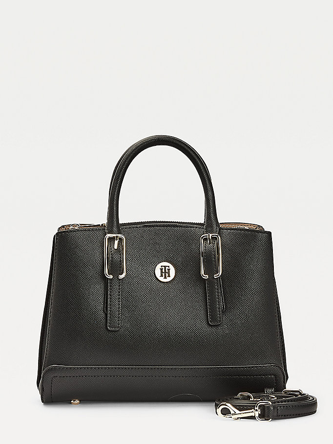 black monogram plaque satchel for women tommy hilfiger