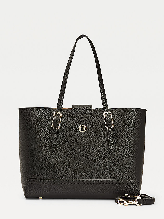 black medium monogram plaque tote for women tommy hilfiger