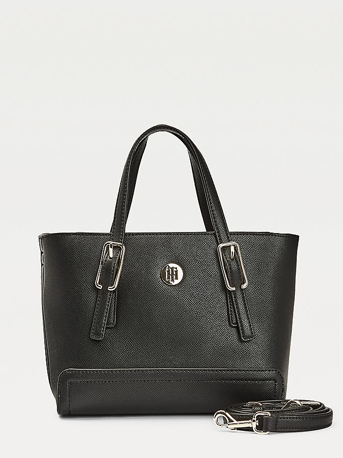 black small monogram plaque tote for women tommy hilfiger