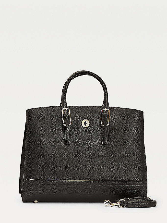 black th monogram workbag for women tommy hilfiger