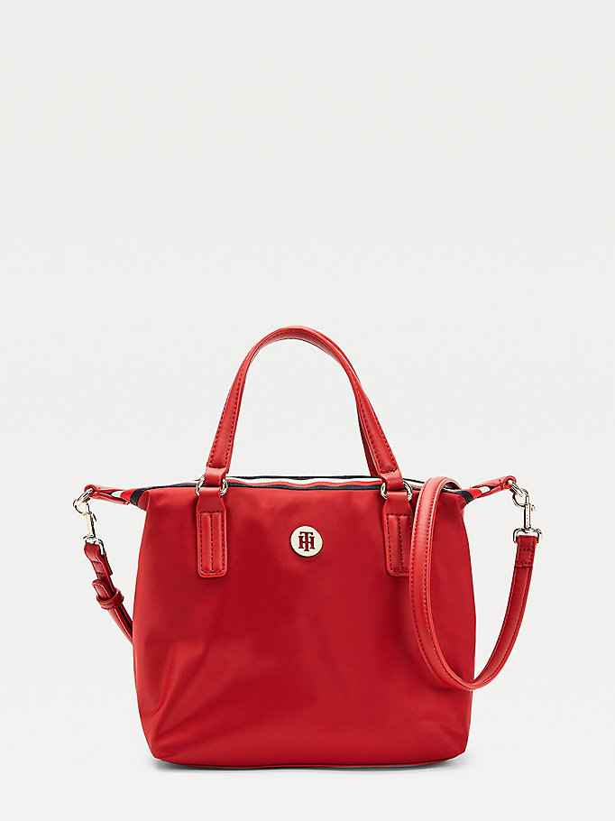 red small signature monogram plaque tote for women tommy hilfiger