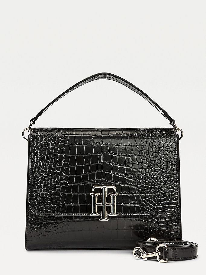 black th lock croco-effect satchel for women tommy hilfiger
