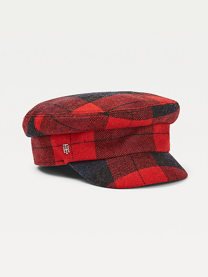 blue check baker boy hat for women tommy hilfiger