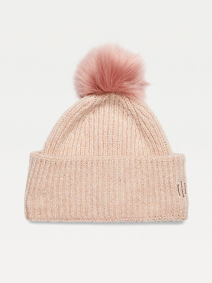 pink pom pom sparkle knit monogram beanie for women tommy hilfiger
