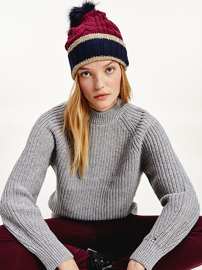 blue signature cable knit beanie for women tommy hilfiger
