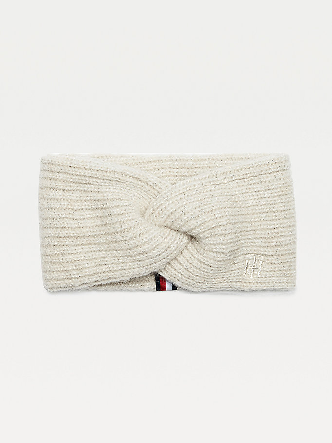 grey sparkle knit knot monogram headband for women tommy hilfiger