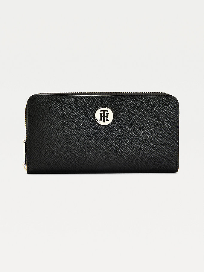 black monogram plaque zip-around wallet for women tommy hilfiger