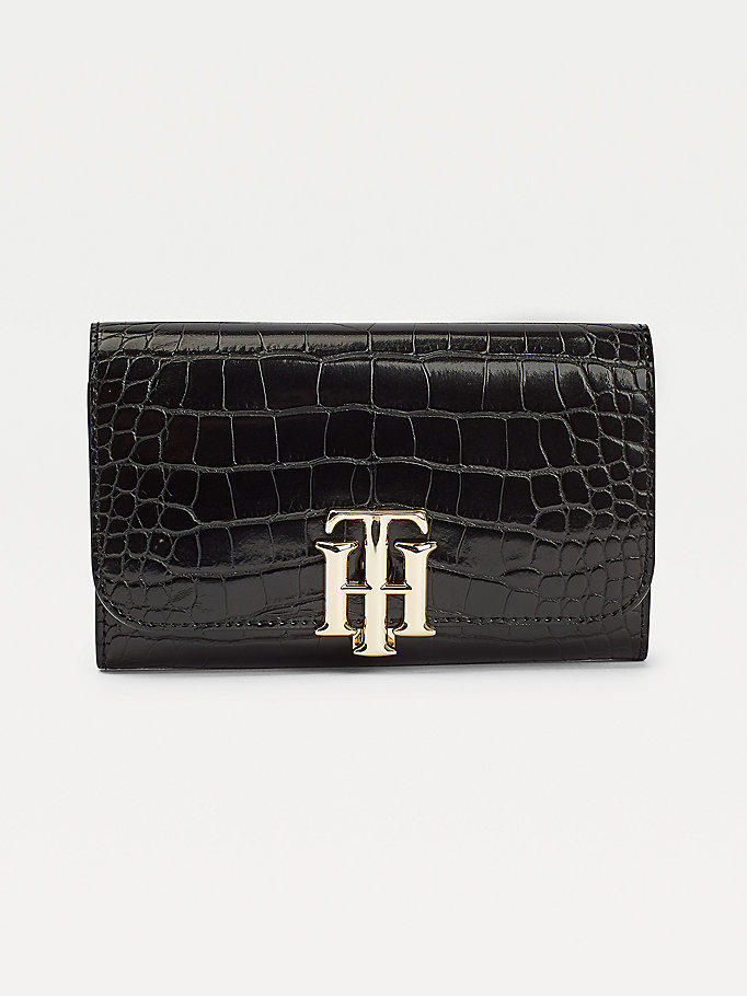 black th lock croco-effect wallet for women tommy hilfiger