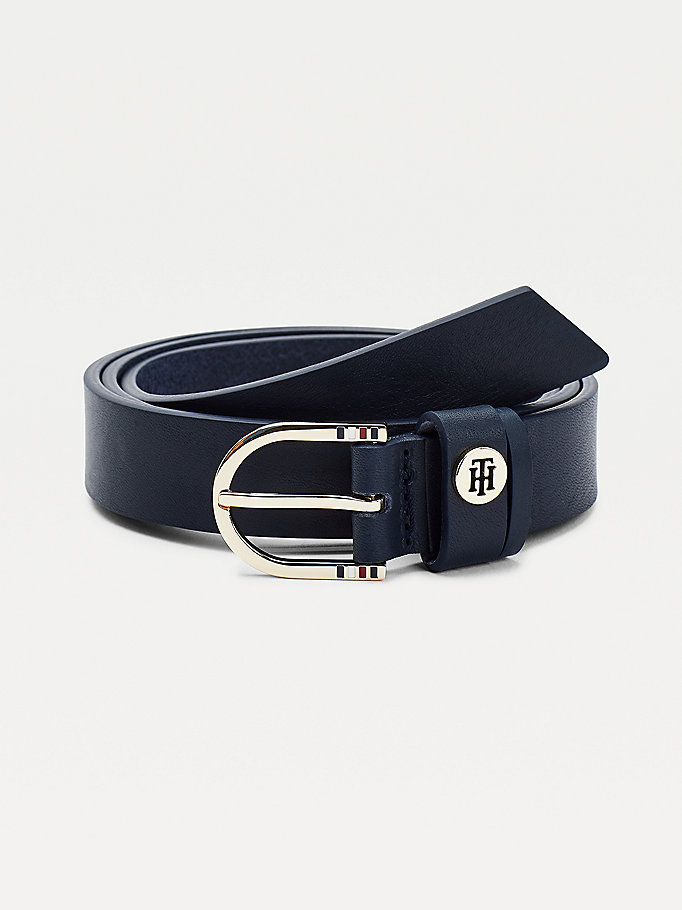 blue classic slim leather belt for women tommy hilfiger