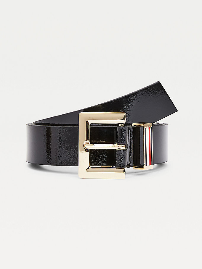 black square buckle patent leather belt for women tommy hilfiger