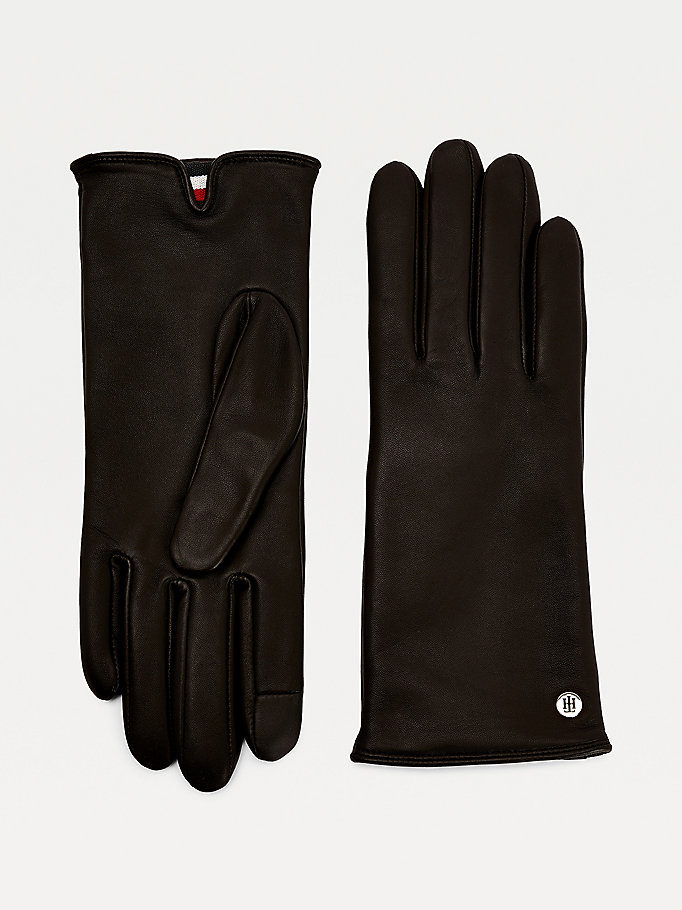 black leather touchscreen monogram gloves for women tommy hilfiger