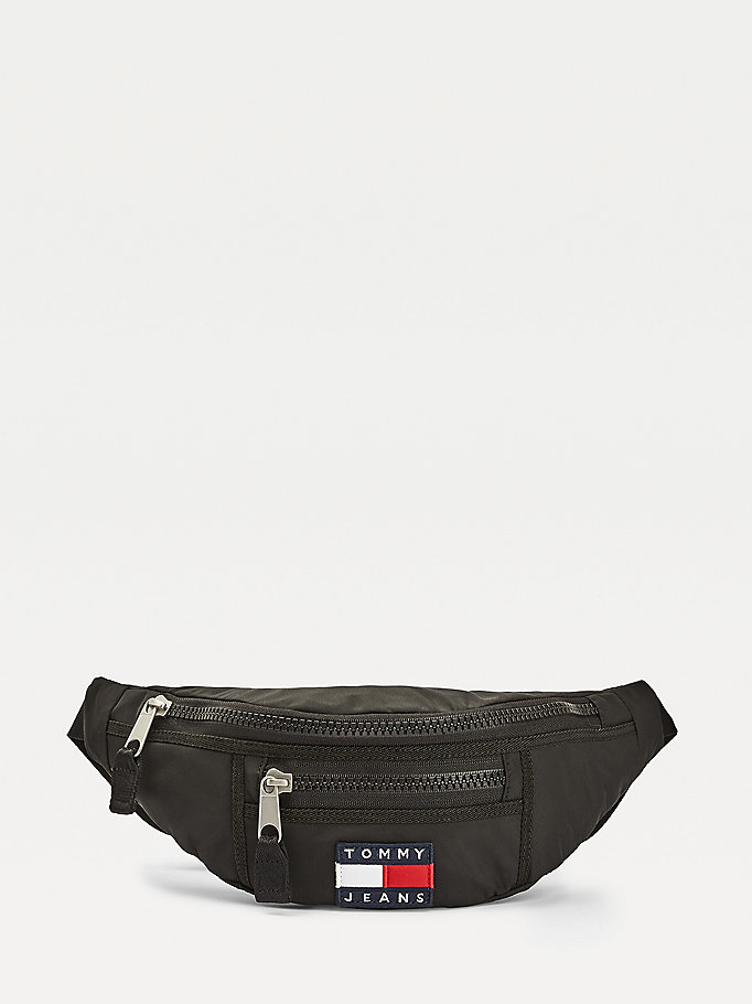 black tommy jeans heritage recycled bumbag for women tommy jeans