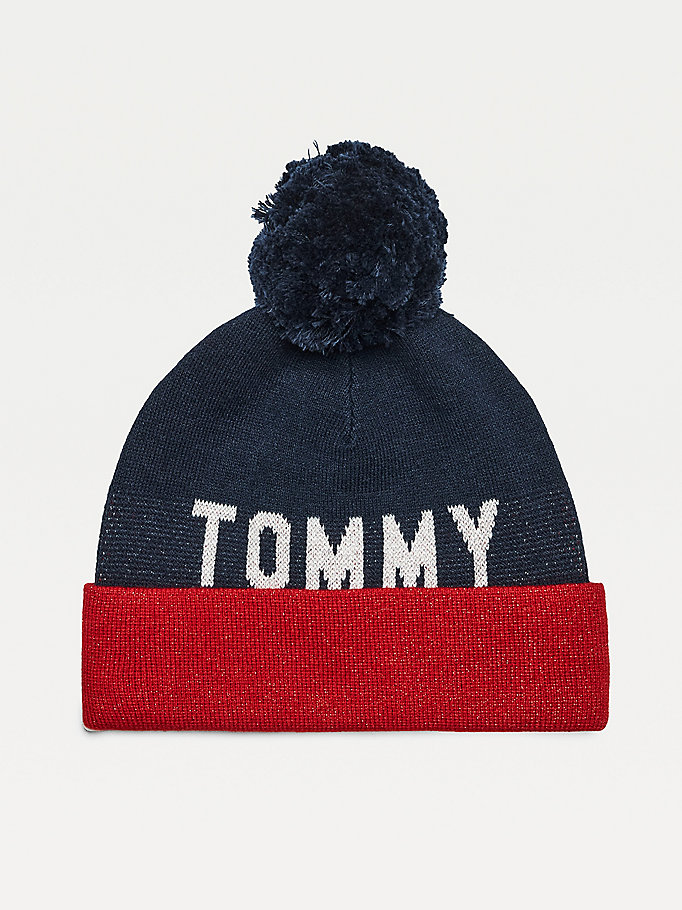 blue metallic logo pom pom beanie for women tommy jeans