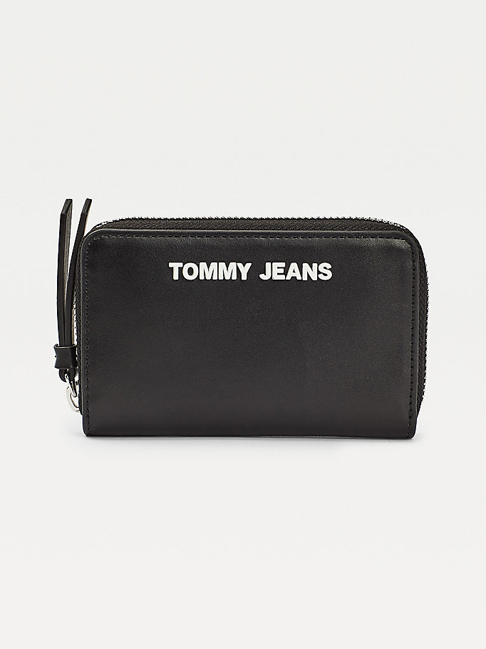 black small zip-around wallet for women tommy jeans