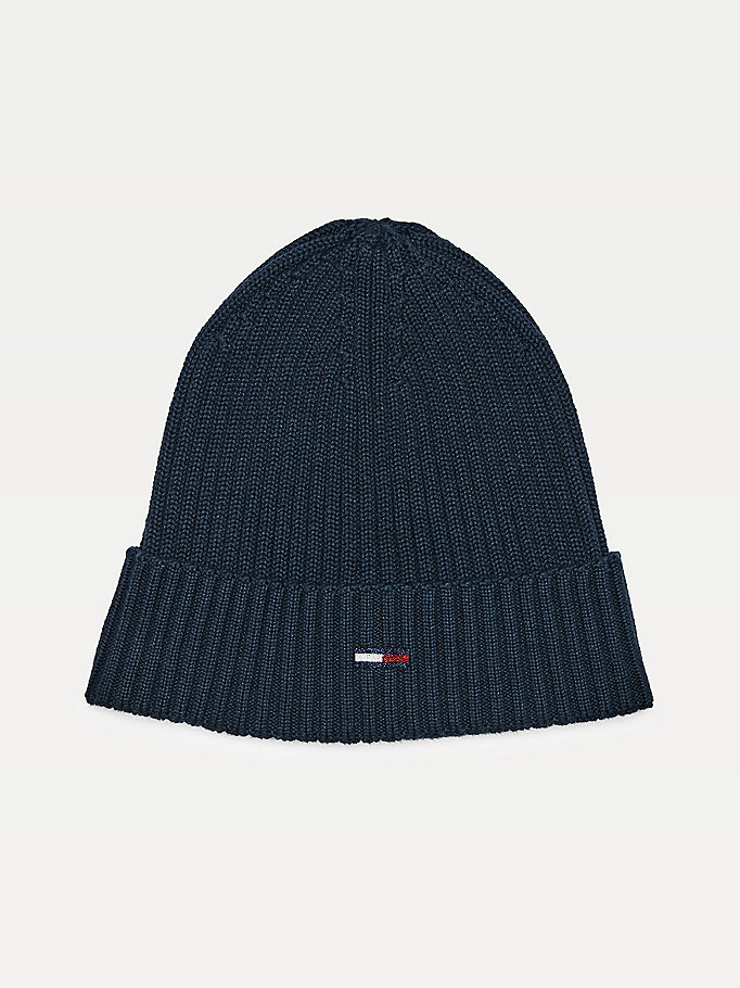 blue sparkle flag rib knit beanie for women tommy jeans
