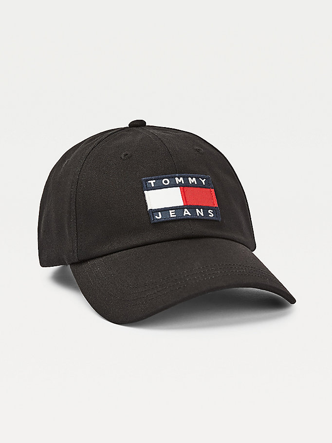 black organic cotton badge cap for women tommy jeans