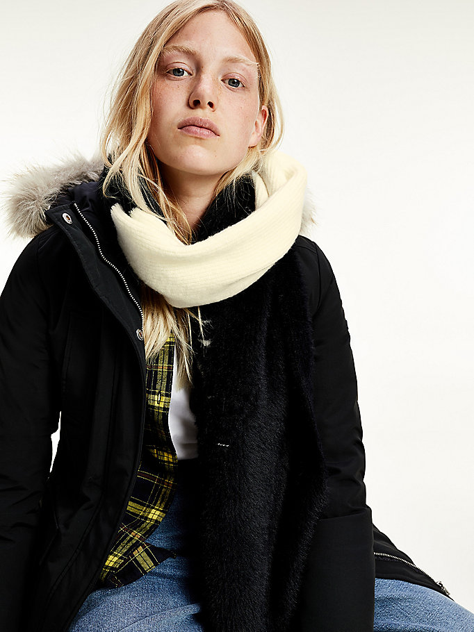 black colour-blocked scarf for women tommy jeans